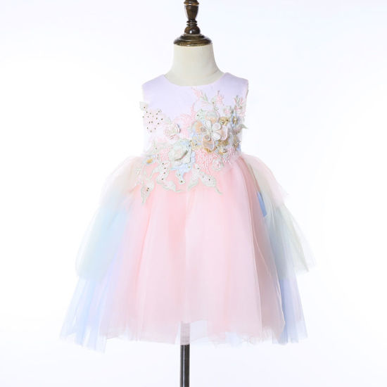 Wholesale Children Clothes Flower Party Dresses Princess Sleeveless Girls Dress for Girl Frock Suits for Kids