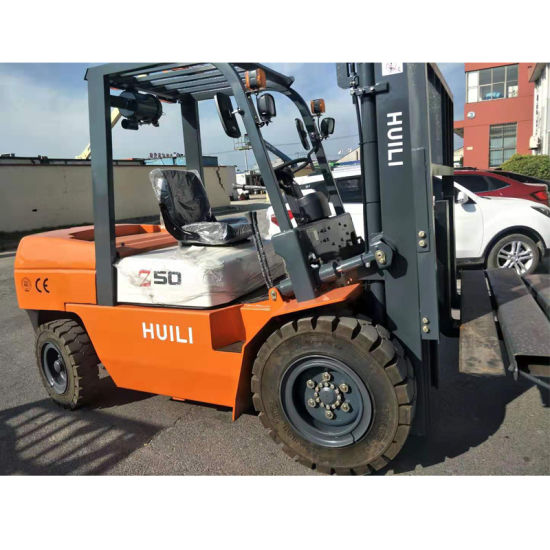 5 Meters 6 Meters 3 Stage Full Free Mast 5000kg Diesel Forklift with Isuzu Engine for Sale