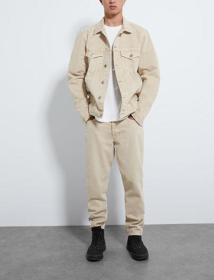 Mens Classic Fit Khaki Oversized Denim Jean Trucker Jacket