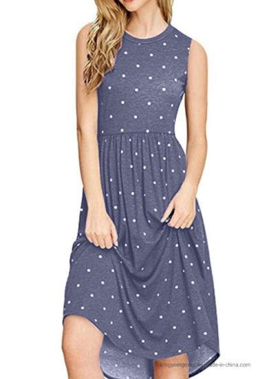 Fashion Hot Sale Lady Skirt Printing Dots Round Neck Casual Women Long Dress