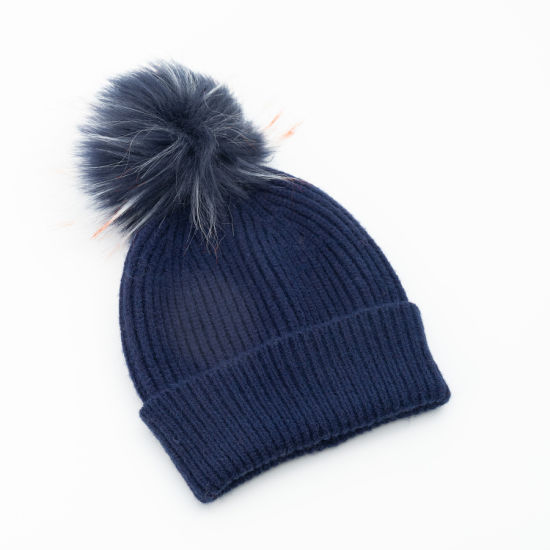 Women′s Navy Dover Yarn Rib Pattern Colorful Faux Fur Pompom Knitted Hat pictures & photos