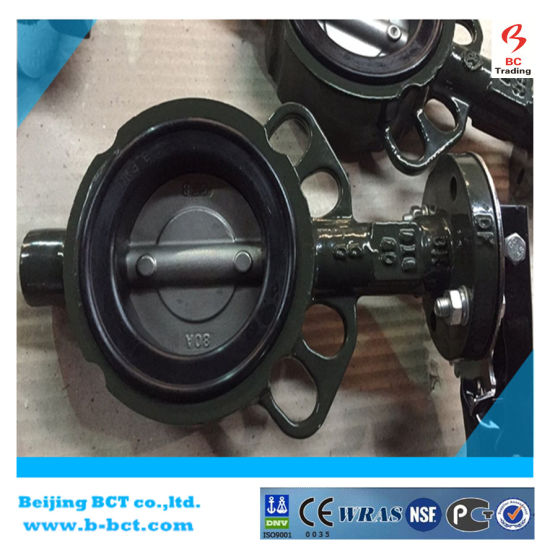 CAST IRON BODY SS DISC RUBBER SEAT WAFER TYPE PN 16 PN10 BUTTERFLY VALVE DIN STANDARD BCT-DKD71X-16 pictures & photos