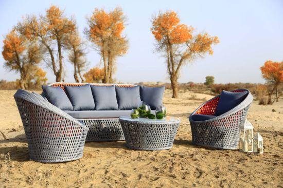 Exclusive Outdoor Garden Sofa Set with PE Round Rattan