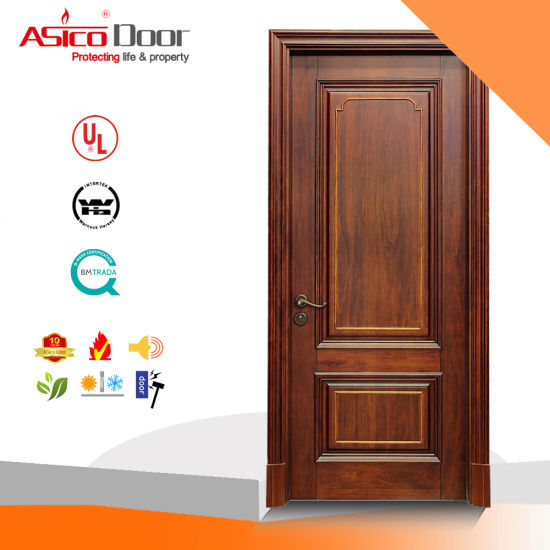 China Solid Wood Entrance Interior Exterior Door For Classical
