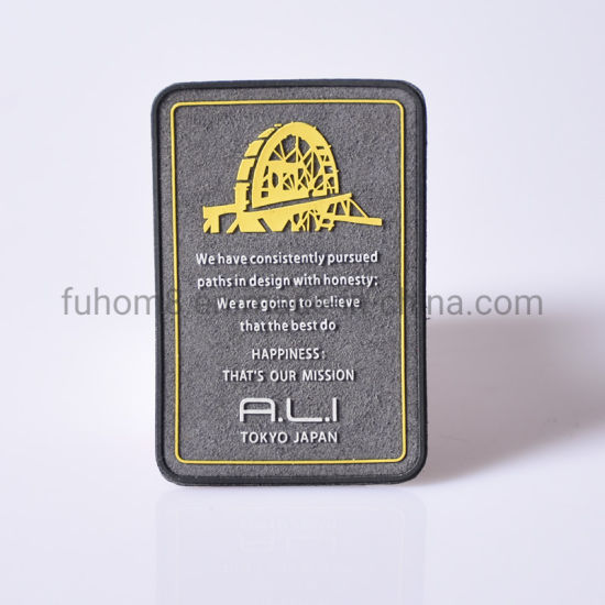 Famous Microfiber Leather Label with Silicone Logo for Apparel
