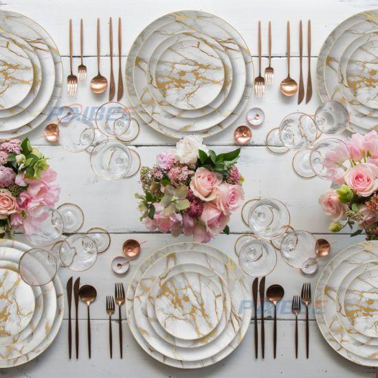 Wedding Luxury Dinner Dishes Western Fine Bone Gold Rim Charger Plates