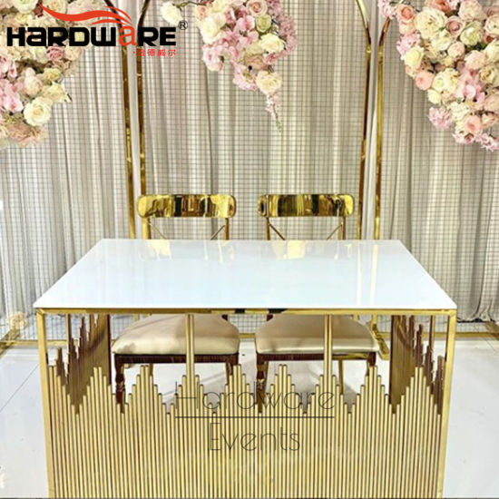China Elegant Design Gold Stainless Steel White Lacquer High Gloss Small Dining Table Set China Used Wedding Dining Table Wedding Chairs