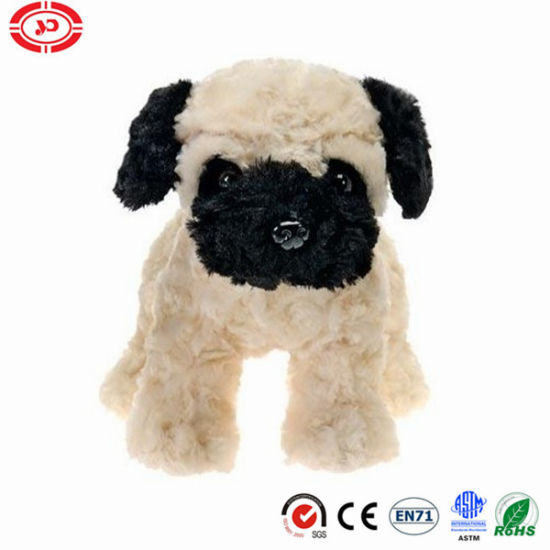 Pug Beige Standing Toy Black Mouth Cute Pet Dog Toy