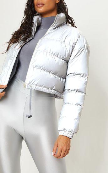 2018 New Fashion Women Grey Reflective Winter Puffer Jackets Wholesale
