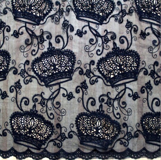 Imperial Crown Design Milk Yarn Embroidered Lace Textile for Women's Clothes