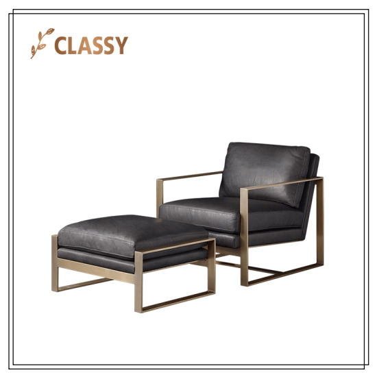 Solid Stainless Steel Office Chaise Lounge Chair Uphostered In Leather