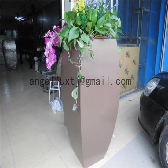 Square Shape Decoration Metal Flowerpot Mirror Surface for Park Garden pictures & photos