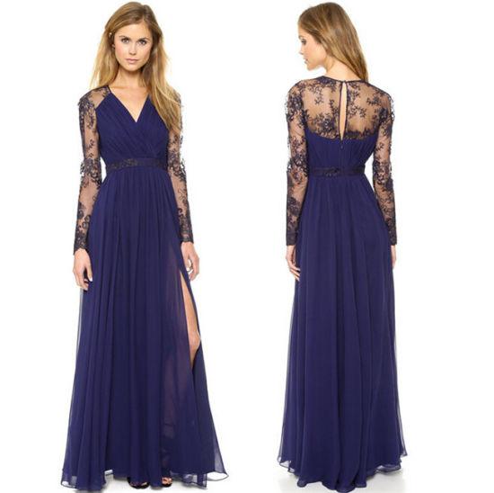 736ad91976e China Fashion Chiffon Women Long Sleeve Maxi Free Prom Dress - China ...