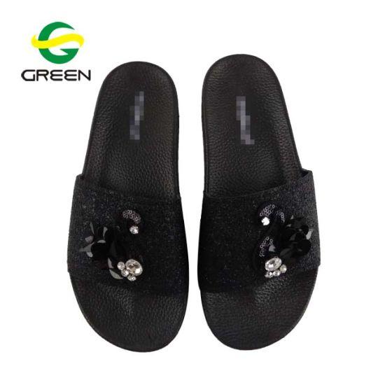 b9b9273e43c Latest Design Swan Sequins Women Slide Slipper Sandal Fashion Plain Women Slide  Sandal pictures   photos
