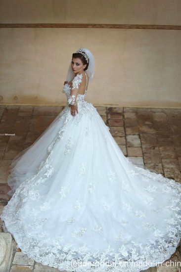 China Sheer Long Sleeves Bridal Ball Gown Tulle Lace Puffy Arabic ...
