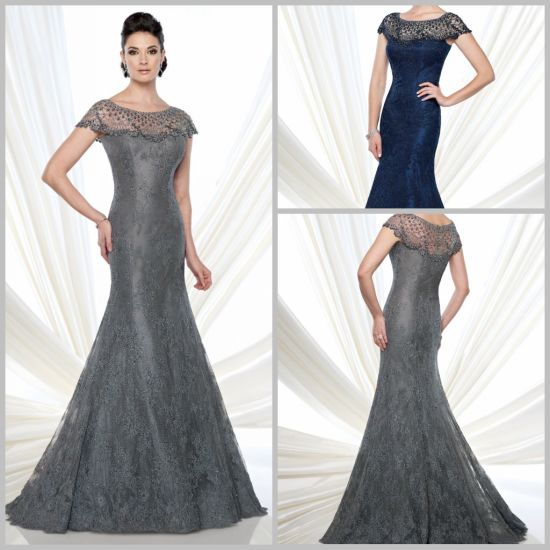 Grey Blue Lace Formal Gown Beads Mother Wedding Evening Dress M21510