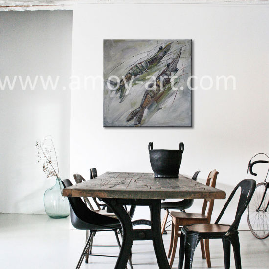 Handmade Double Shrimps Canvas Art Paintings For Home Decor