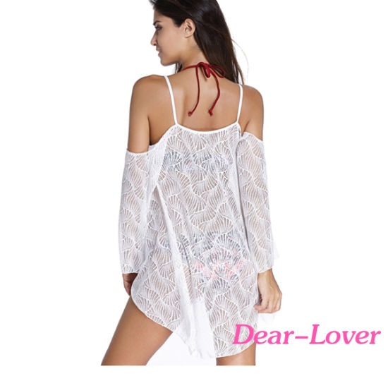 Fashion White Cold Shoulder Lace Beachwear pictures & photos