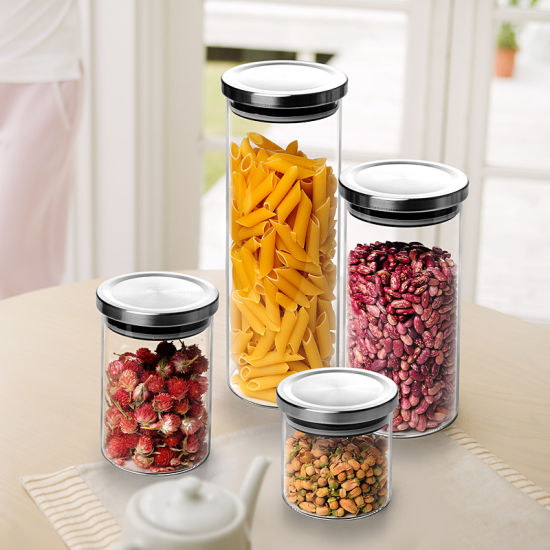 High Quality Food Glass Storage Bottle with Steel Lids