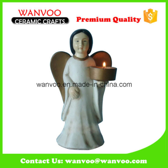 Adorable Popular Stoneware Couple Angel Candle Holder for Home Ornament pictures & photos