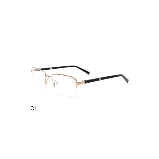 Factory Price Thin Temple Gold Metal Square Optical Frame for Men