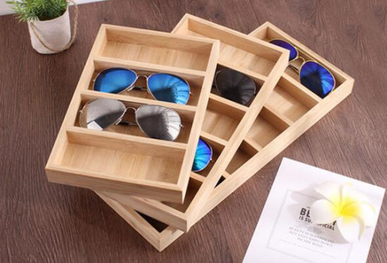 Modern Bamboo 4/5/6 Compartment Sunglasses Storage Case pictures & photos