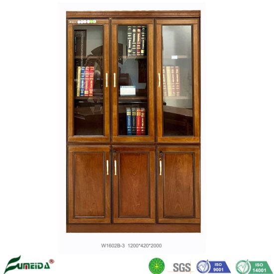 Chinese Furniture Wood Venner Walnut Color Classical Style Office Filing Cabinet