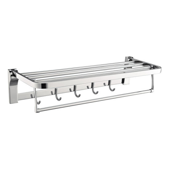 Luolin Stainless Steel 304 Hotel Towel Rack Bathroom Folding Shelf Shower Towel Bar Holder Steel with Hooks, 91095-13