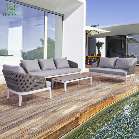 Hotel Wholesale Patio Furniture Fabric Upholstered Outdoor Garden Sofa Set