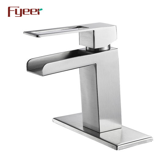 Fyeer Stainless Steel Brush Finishing Waterfall Bathroom Basin Faucet with Deck Plate