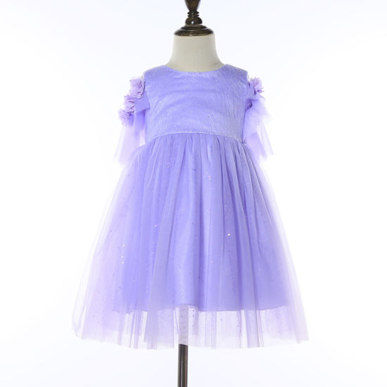 Children Clothing Rose Sleeve Sequined Fashion Birthday Dress for Girls