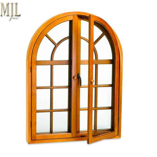 China Newest Grill Wooden Clad Window With Aluminum Frame