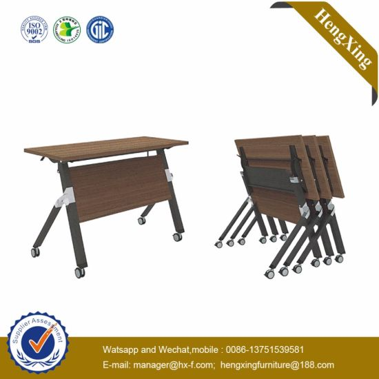 Classic Steel Laminated Modular Melamine Press Conference Folding Table pictures & photos