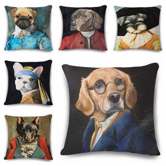 Cojines Animal Print.Hot Item Retro Pattern Dog Cushion Cover Portrait Painting Funda Cojin Creative Schnauzer Cojines Decorativos Pugs Sofa Throw Pillow Case