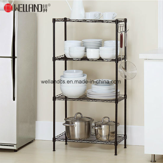 Free Standing 4 Tiers Adjustable Home Kitchen Plate Storage Shlelving Rack Unit & China Free Standing 4 Tiers Adjustable Home Kitchen Plate Storage ...