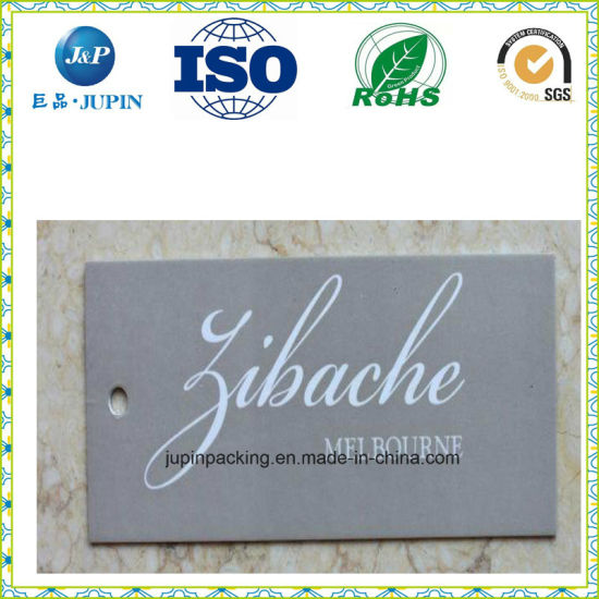 Customized Letterpress Printing Hang Tag Paper, Cotton Paper Clothing Tag, Hight Quality Embossed Swing Tag (jp-t003)