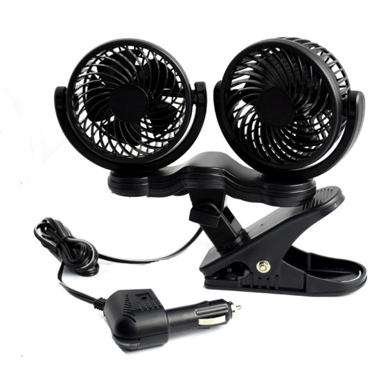 12V Car Auto Cooling Fan Oscillating Car Air Fan with Dual Head 2 Adjustable Speeds pictures & photos