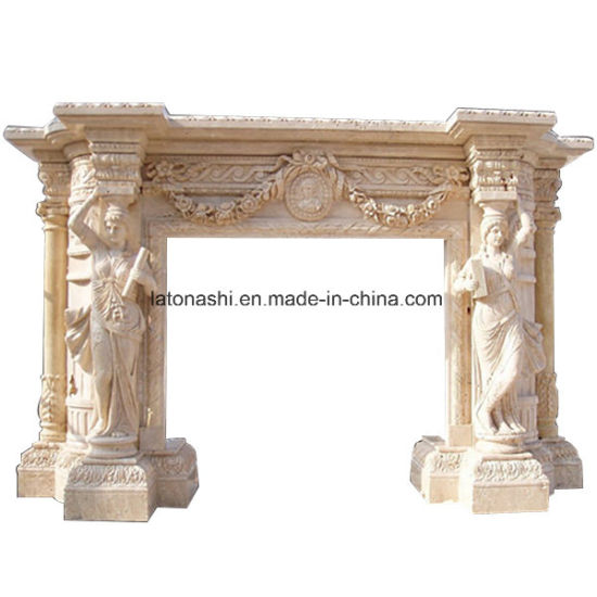 Beige Marble Stone Fireplace for Mantel Surround pictures & photos
