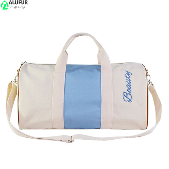 Two Tone Embroidery Canvas Grocery Gym Duffel Bag with Telescopic Duffle
