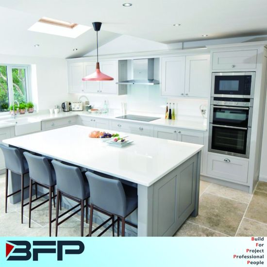 China White And Light Grey Shaker Door Kitchen With Island And - Light grey shaker cabinets