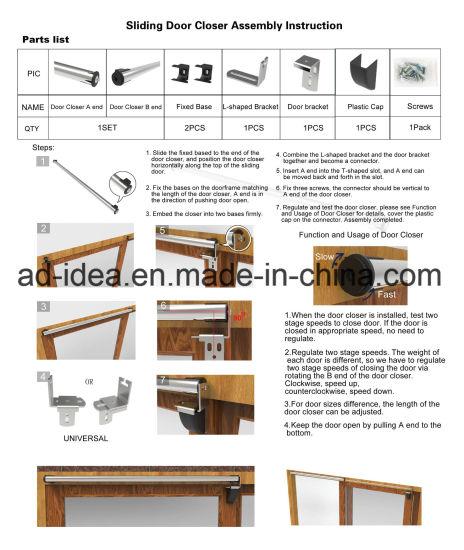 30cm to 150cm DIY Design Self Closing Air Pressure Sliding Door Closer with USA Patent