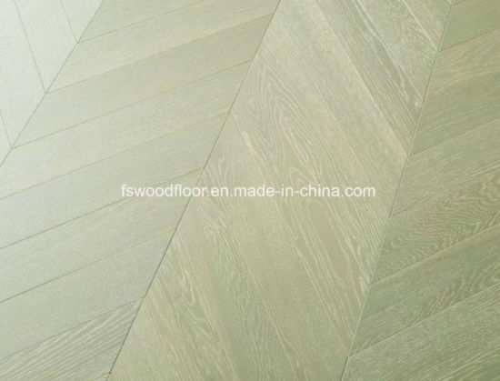 Engineered Oak Chevron Parquet Floor--Greenish Grey pictures & photos