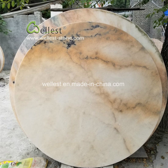 Chinese Whole Cream Brown Black Marble Round Dining