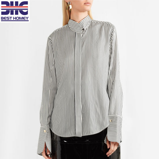 Striped Silk Crepe De Chine Long Sleeve Tops Button Collar Blouses Women for Ladies