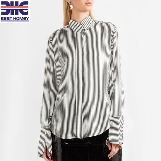 e3f991030d041 Striped Silk Crepe De Chine Long Sleeve Tops Button Collar Blouses Women  for Ladies