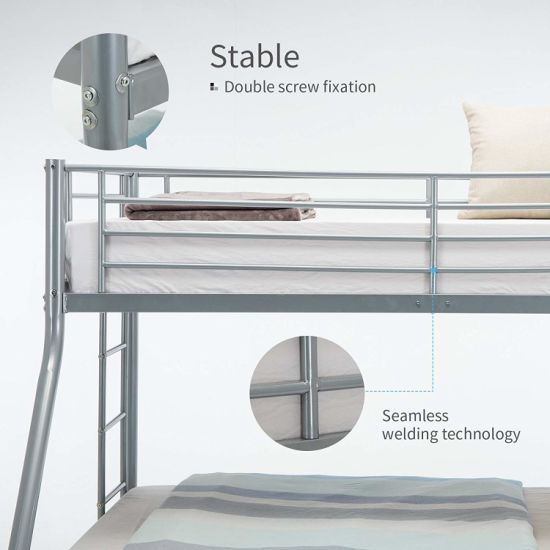 White Metal Twin Over Full Bunk Beds Ladder Kids Teens Adult Dorm Bedroom Bunk Beds For Kids Teens