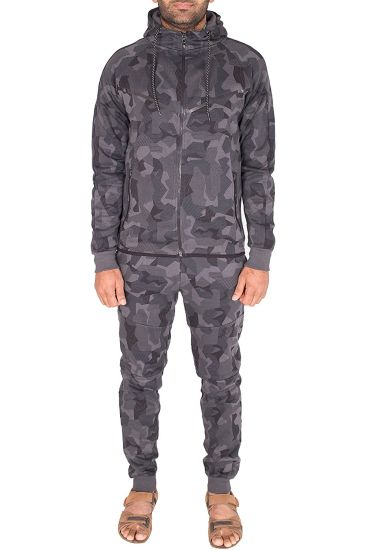 Men's Sports Army Camouflage Tracksuit Hoodie Zipper Joggers