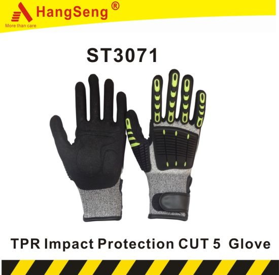 TPR Cut Resistant Safety Work Glove for Mining Industrial Purpose Use (ST3071)