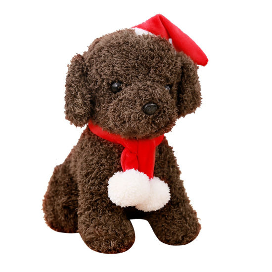 Christmas Stuffed Dog Plush Toys with Hat and Scarf