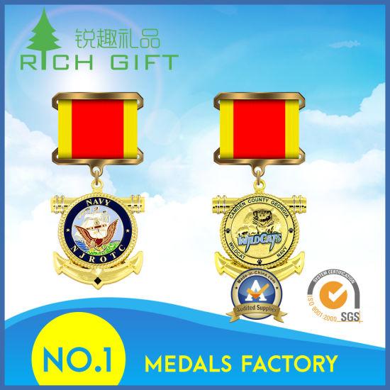 Production Zinc Alloy Die Cast Metal Military Award Silver Sports Souvenir Medal